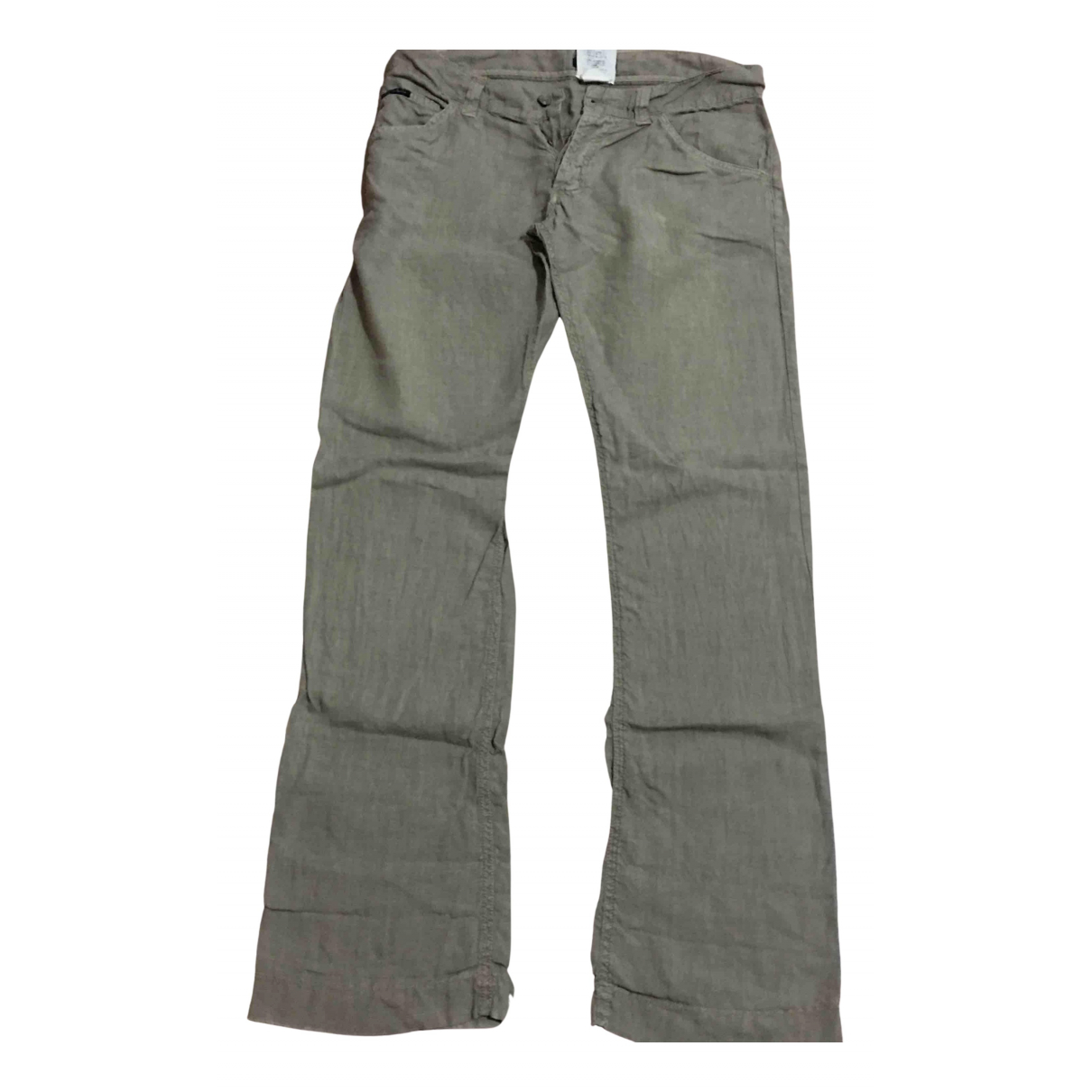 Dolce & Gabbana N Ecru Linen Trousers for Men 46 IT