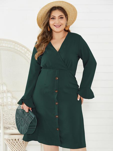 Yoins Plus Size Army Green V-neck Ruffle Sleeves Wrap Dress
