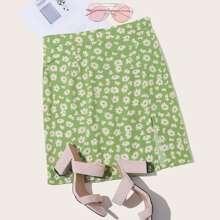 Daisy Floral Slit Hem Skirt