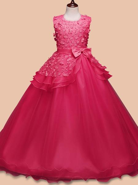 Milanoo Flower Girl Dresses Jewel Neck Sleeveless Floor Length Bows Kids Pageant Party Dresses