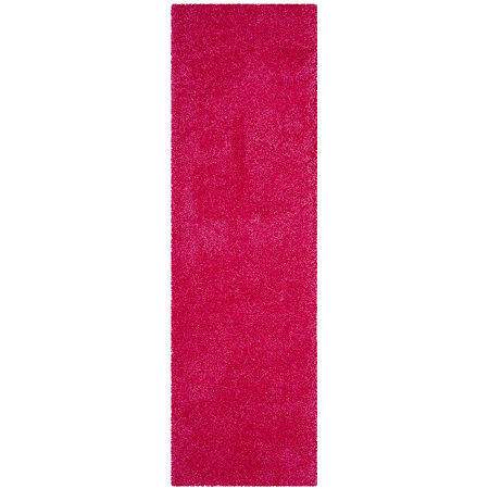 Safavieh Laguna Shag Collection Claes Solid Runner Rug, One Size , Pink