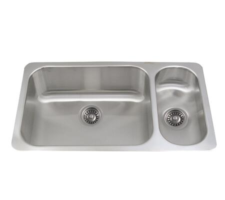 WHNDBU3118GDR Noah's Collection Brushed Stainless Steel double bowl undermount disposal