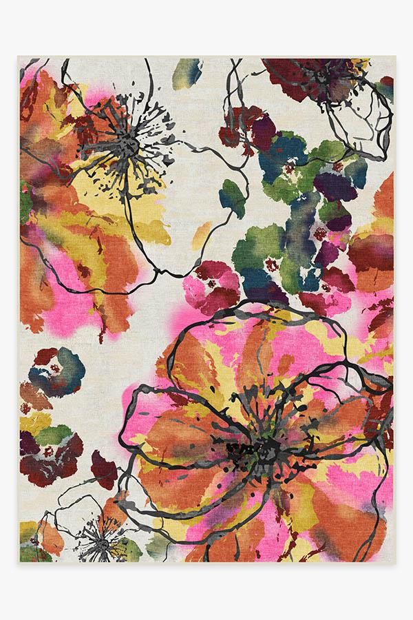 Washable Rug Cover & Pad   Watercolor Floral Multicolor Rug   Stain-Resistant   Ruggable   9'x12'