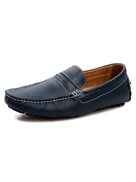Milanoo Moccasin Yellow Penny Loafers Slip-On Round Toe Driving Shoes