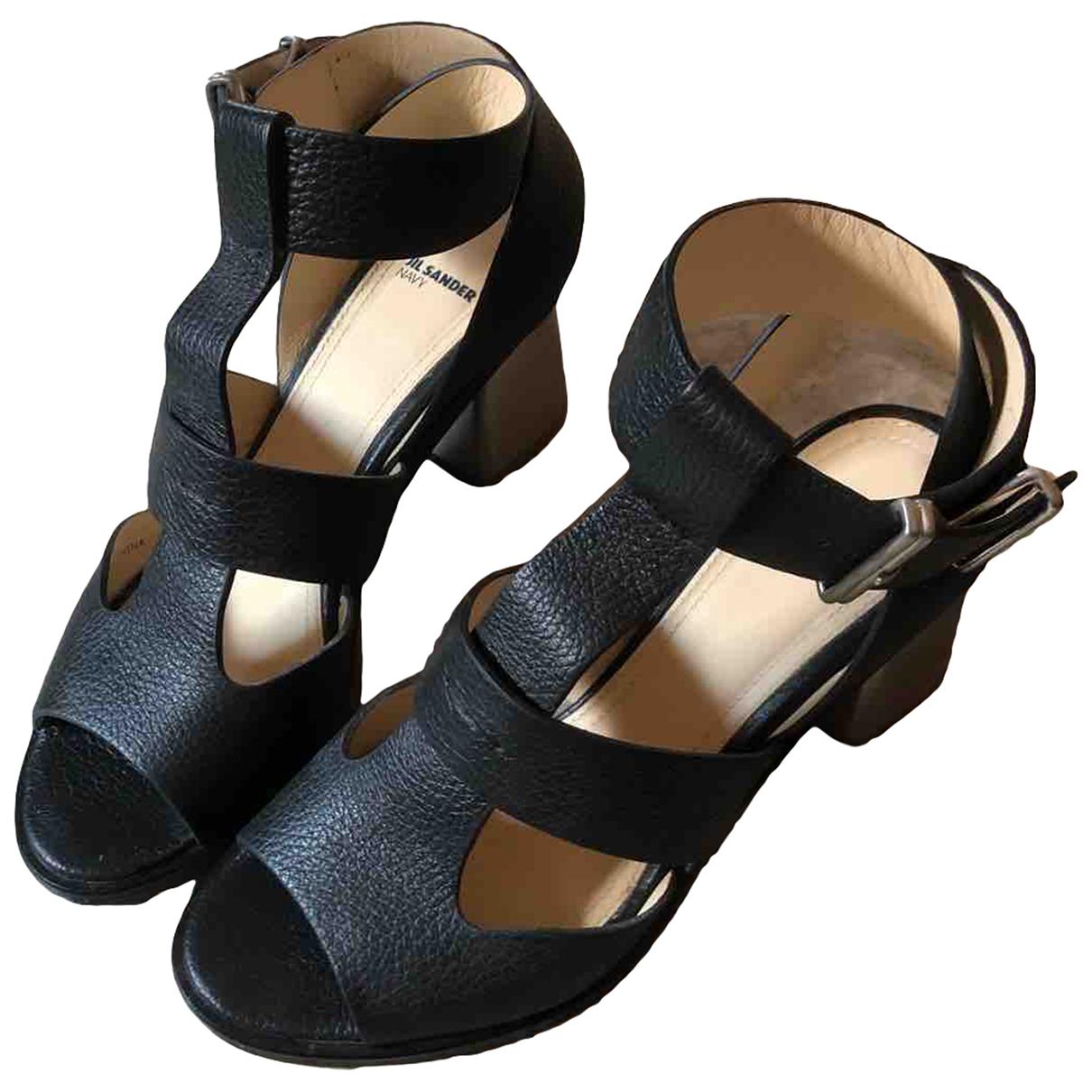 Jil Sander \N Black Leather Sandals for Women 37 IT