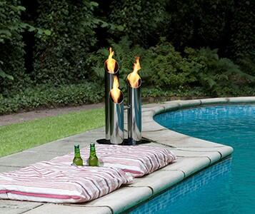 BB-PS Pipes Small Outdoor Bio Ethanol Fireplace with 1 Adjustable Round Burner  6824 BTU Heat Capacity  Extinguish Tool and Stainless Steel
