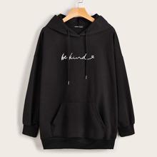 Hoodie mit Buchstaben Grafik und Kaenguru Taschen