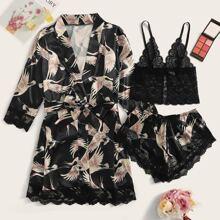 3pack Crane Print Contrast Lace Satin Lingerie Set & Belted Robe