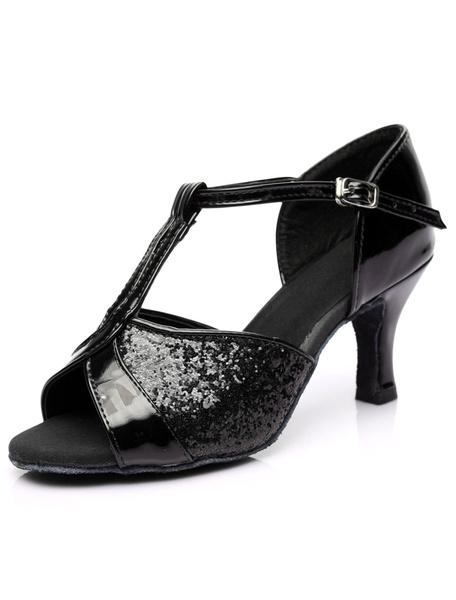 Milanoo Oro tobillo correa brillo zapatos de salon de baile para las mujeres