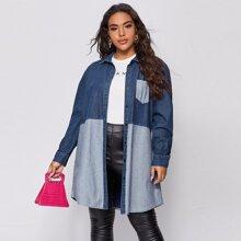Plus Color Block Pocket Patched Denim Coat