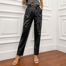 Double Crazy Paperbag Waist Belted PU Leather Pants