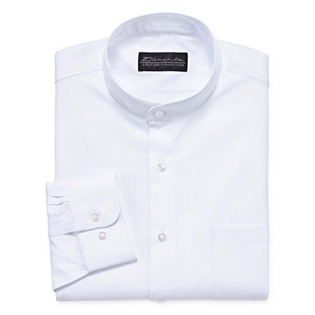 Damante Modern Mens Banded Collar Long Sleeve Dress Shirt, 20 34-35, White