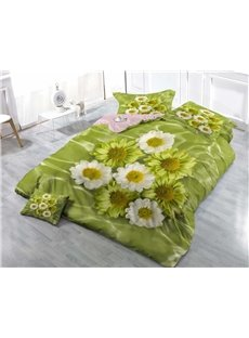 Fresh Daisies Wear-resistant Breathable High Quality 60s Cotton 4-Piece 3D Bedding Sets