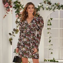 Leg-of-mutton Sleeve Ditsy Floral Wrap Dress