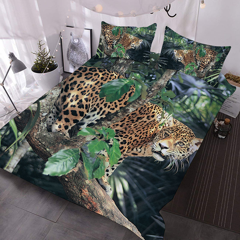 Leopard in the Forest 3D Animal Comforter 3-Piece Soft Comforter Sets with 2 Pillowcases
