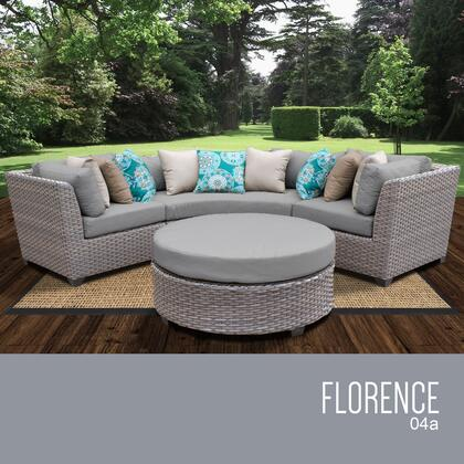 FLORENCE-04a Florence 4 Piece Outdoor Wicker Patio Furniture Set 04a with 1 Cover in
