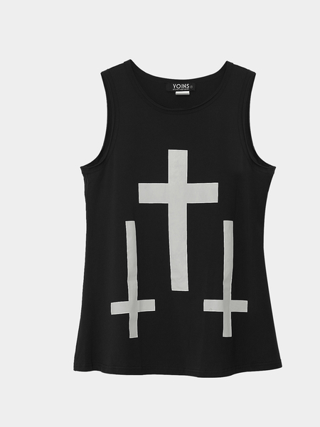 Yoins Black Tank Top with Cross Print