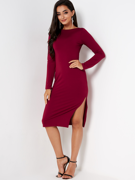 Yoins Burgundy Backless Design Round Neck Long Sleeves Midi Dress
