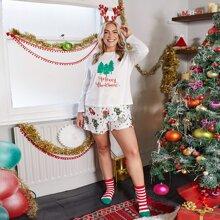 Plus Christmas & Slogan Graphic Top And Pants PJ Set