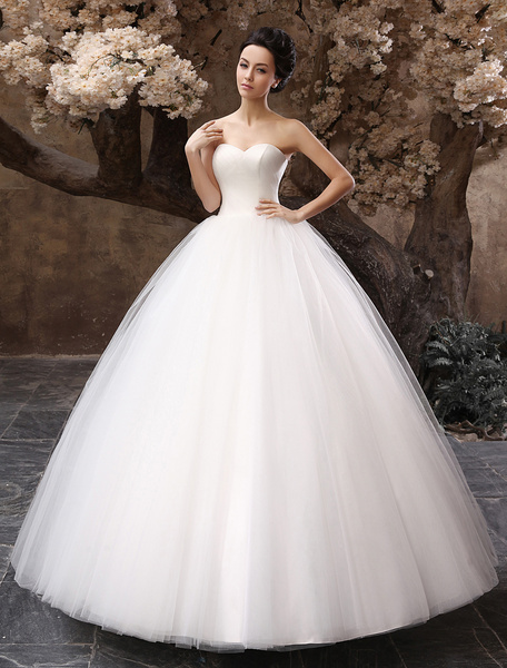 Milanoo princess wedding dresses 2020 ball gown white maxi strapless sweetheart neckline tulle floor length bridal gowns