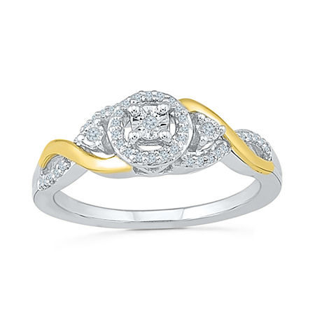 Promise My Love Womens 1/8 CT. T.W. Genuine White Diamond 10K Gold Sterling Silver Round Promise Ring, 7 , No Color Family