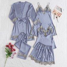 5 Stuecke Satin Schlafanzug mit Kontrast Spitzen und Guertel