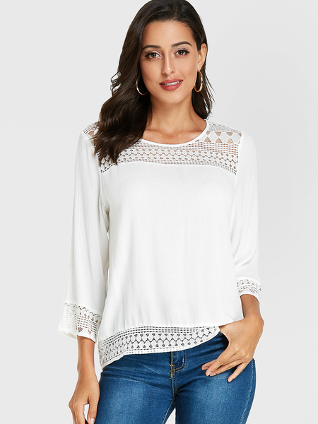 YOINS White Lace Insert Round Neck Blouse