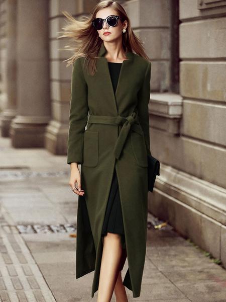 Milanoo Women Coat Brown Long Sleeves Sash Wrap Coat Split Winter Coats