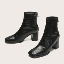 Square Toe Croc Embossed Ankle Boots