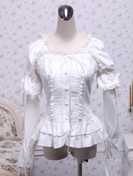 Milanoo White Cotton Lolita Blouse Long Sleeves Square Neck Lace Trim Layered Ruffles Lace Bow