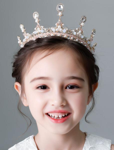 Milanoo Flower Girl Tiara Gold Princess Crown Little Girls Hair Accessories Kids Wedding Headpieces
