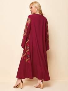 Plus Floral Print Flounce Sleeve Ruffle Hem Dress