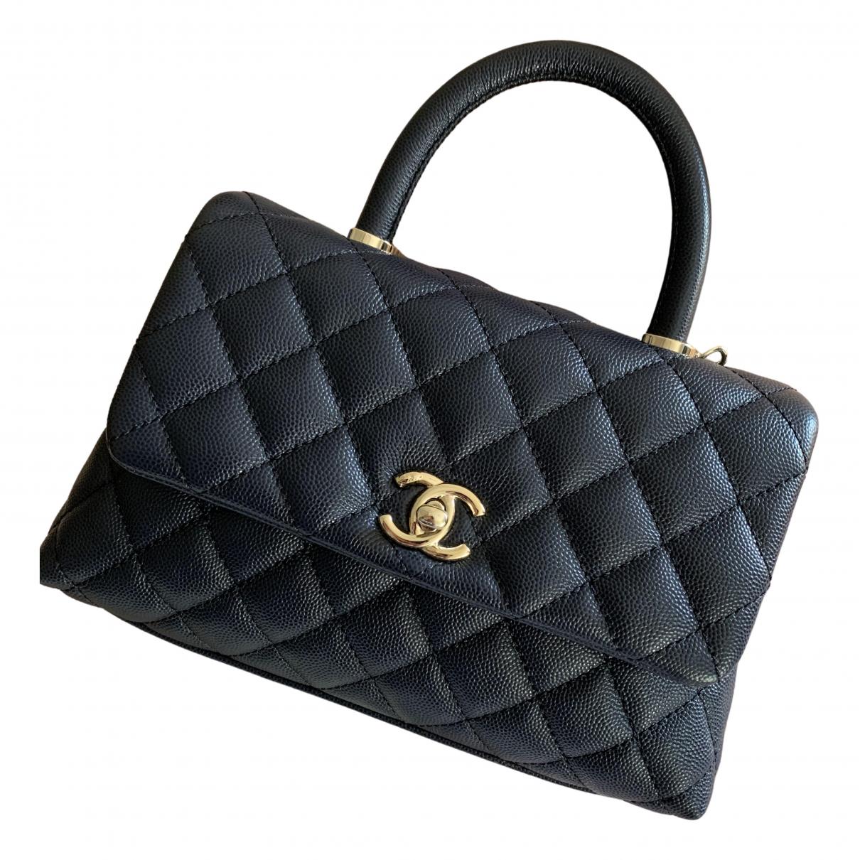 Chanel Coco Handle Handtasche in  Marine Leder