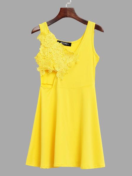 Yoins Yellow Stitching Lace Backless Flounced Hem Vest Dress