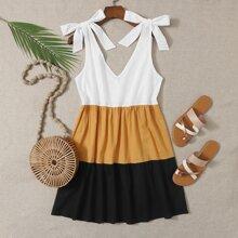 Tie Shoulder Color-block A-line Dress