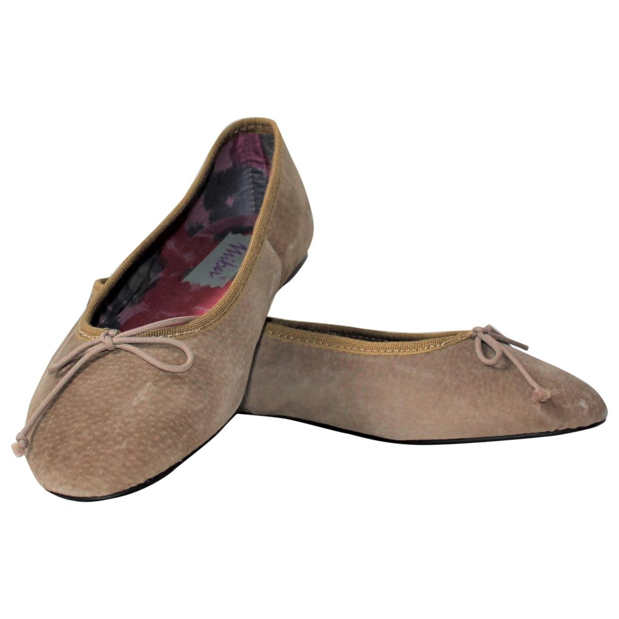 - Ballerines   pour femme en cuir - kaki