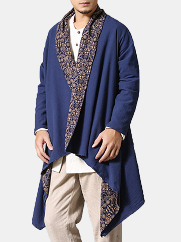 Men's Double-sided Wearable Trench Coat Cotton Linen Shirt Cardgans Reversible Casual Ethnic Clothes