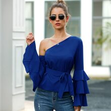 Asymmetrical Neck Layered Sleeve Belted Blouse
