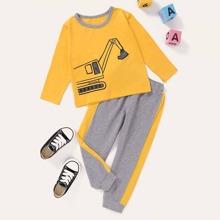 T-Shirt mit Bagger Grafik & Jogginghose mit Streifen