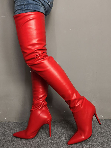 Milanoo Thigh High Boots Womens Red PU Pointed Toe Stiletto Heel Over The Knee Boots