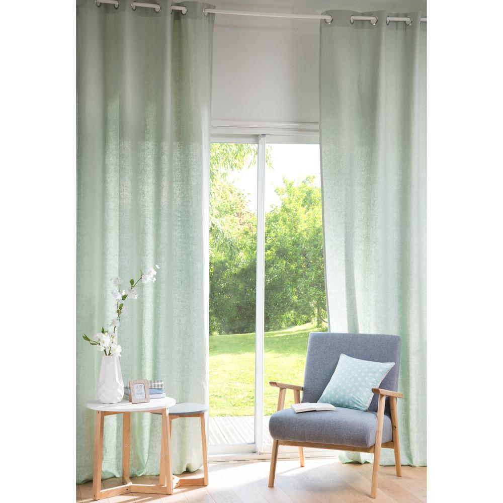 Osenvorhang aus gewaschenem Leinen hellgruen, 1 Vorhang 130x300