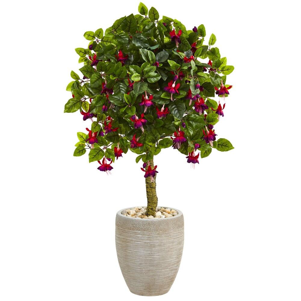 3' Fuschia Artificial Tree in Sand Colored Oval Planter (Green)