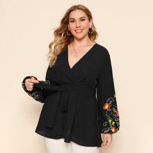 Plus Surplice Neck Embroidery Floral Lantern Sleeve Belted Top