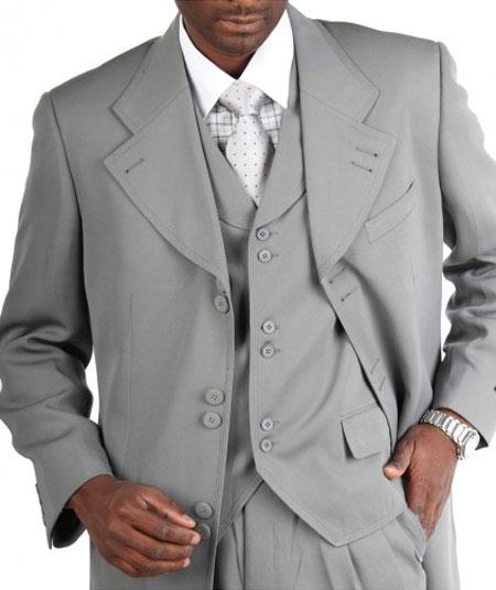 Men's Light Grey Zoot Vested Fashion Suits Pleated Pants