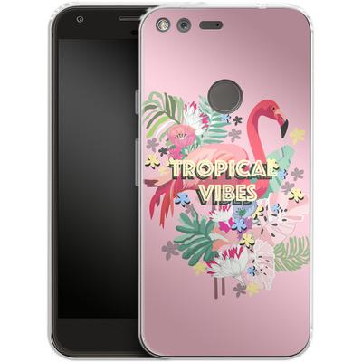 Google Pixel XL Silikon Handyhuelle - Flamingo Solo von Mukta Lata Barua