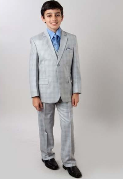 Boy's Subtle Plaid Light Gray Two Button Notch 3 Piece Vested Suit