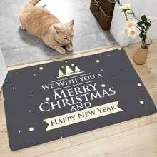 Alfombra de piso grafico con slogan de navidad