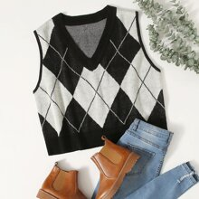 Strick Top mit Argyle Muster