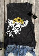 Sunflower Cow O-Neck Tank - Dark Grey