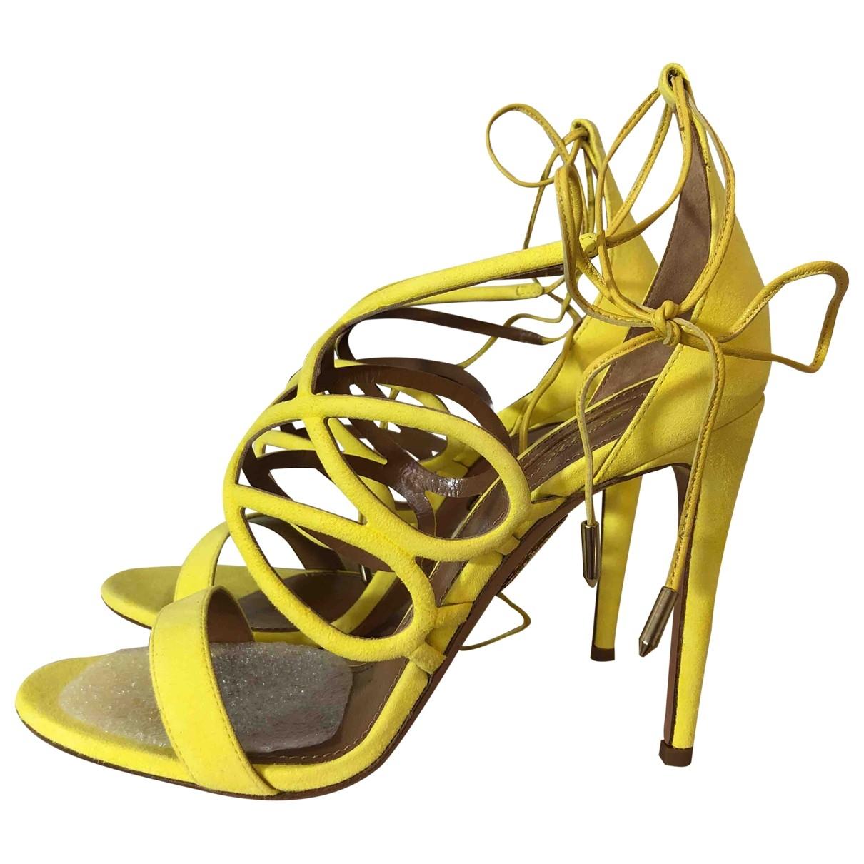 Aquazzura - Sandales   pour femme en suede - jaune